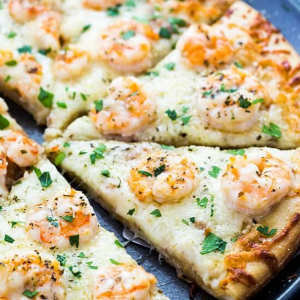 Cheezy Shrimp Pizza