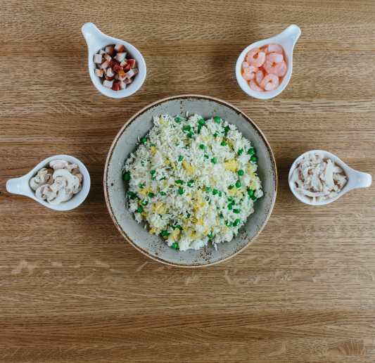 Fried Rice with Eggs and Peas