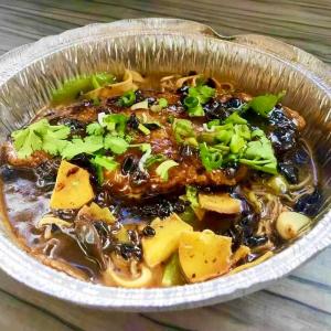 2-27. Black Bean BBQ Sole Fish with Rice (no bones)