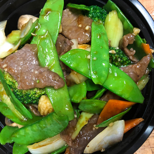 82. Beef with Snow Peas and Vegetables