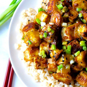 Flavoured Tofu with Chopped Green Onions