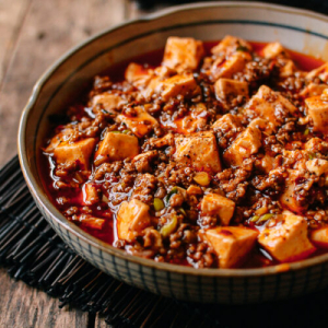 Braised Tofu with Spicy Bean Sauce and Ground Pork