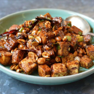 Stir Fried Tofu with Spicy Bean Sauce, Bell Pepper, Onion and Peanut