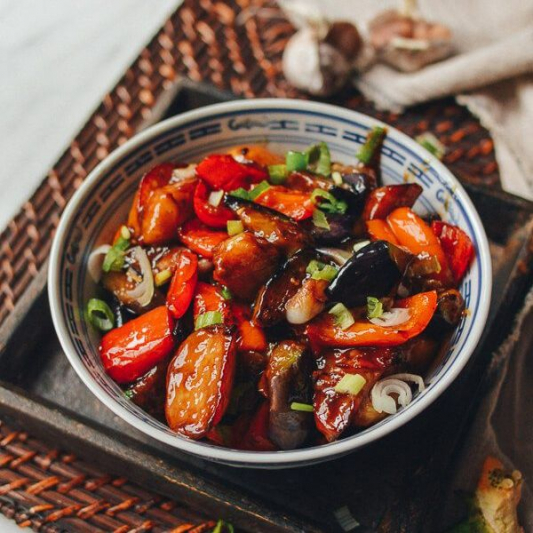 Stir-Fried Eggplant, Onion, and Bell Pepper