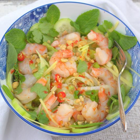 Shrimp, Japanese Tofu, and Iceberg Lettuce
