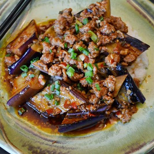 Japanese Tofu, Eggplant, and Ground Pork Sauce