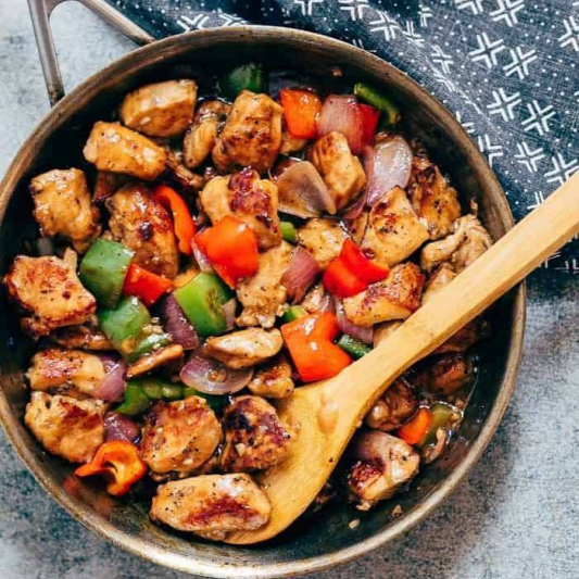 Stir-Fried Potato, Onion, and Bell Pepper